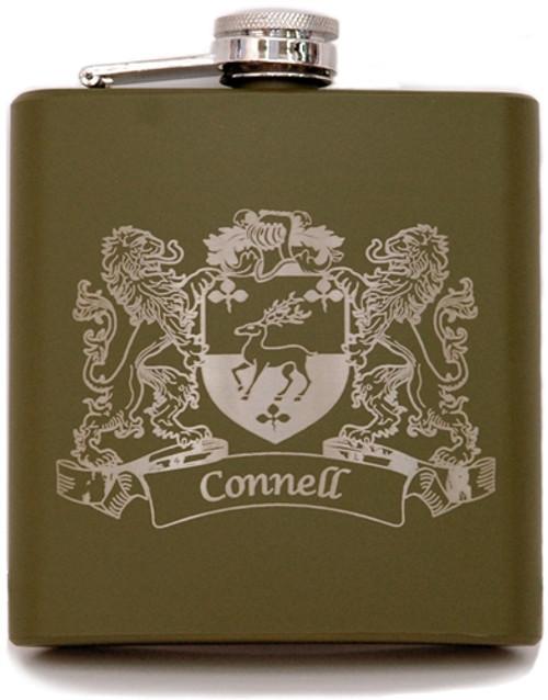Army Green Irish Coat of Arms Flask | Irish Rose Gifts