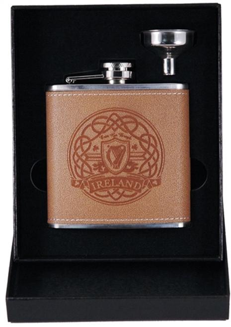 Harp Leather Flask & Funnel Box Set | Irish Rose Gifts