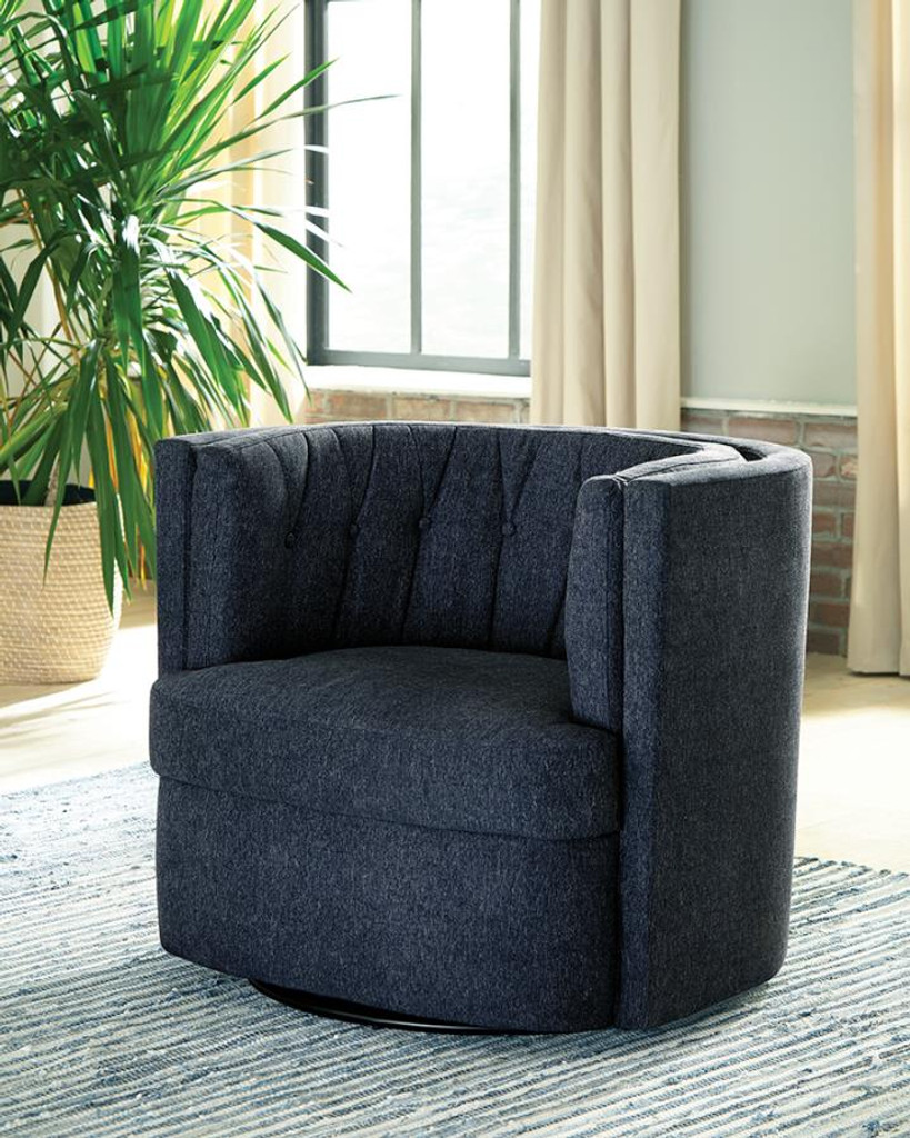 Picture of: The Dark Blue Plush Swivel Accent Chair Miami Direct Furniture