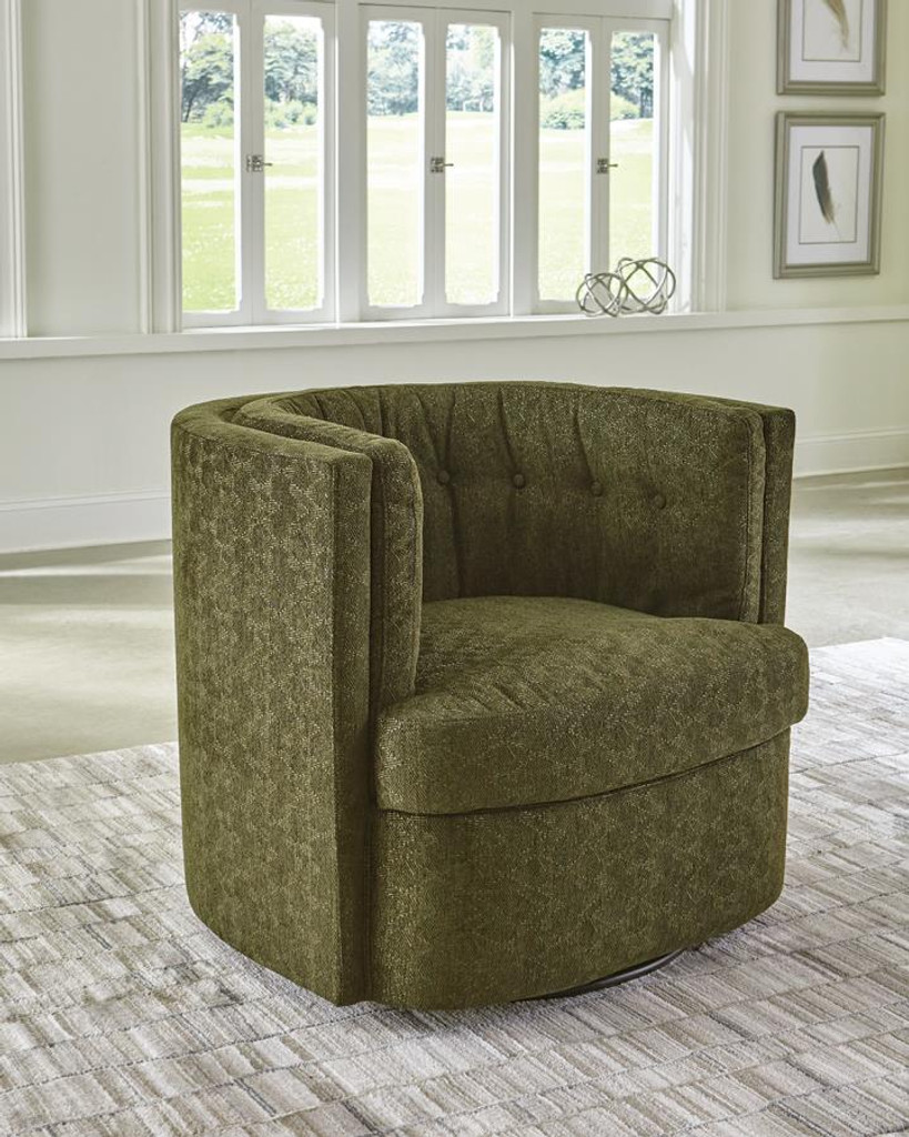 Picture of: The Green Chenille Plush Swivel Accent Chair Miami Direct Furniture