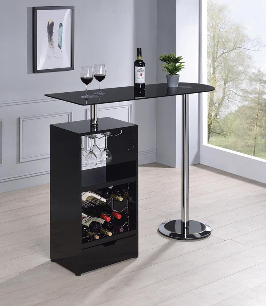 The Jade Black Bar Table w/Wine Storage