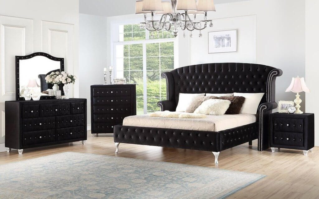 The Deanna Black Velvet Bedroom Collection Miami Direct Furniture