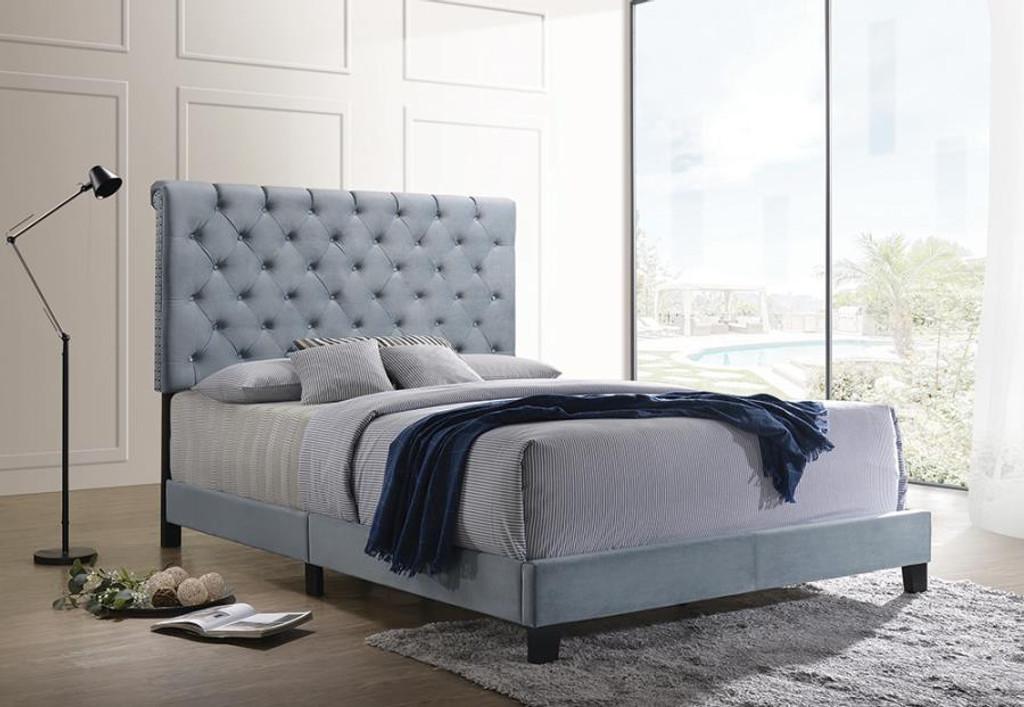 The Warner Slate Blue Velvet Upholstered Bed Miami Direct Furniture