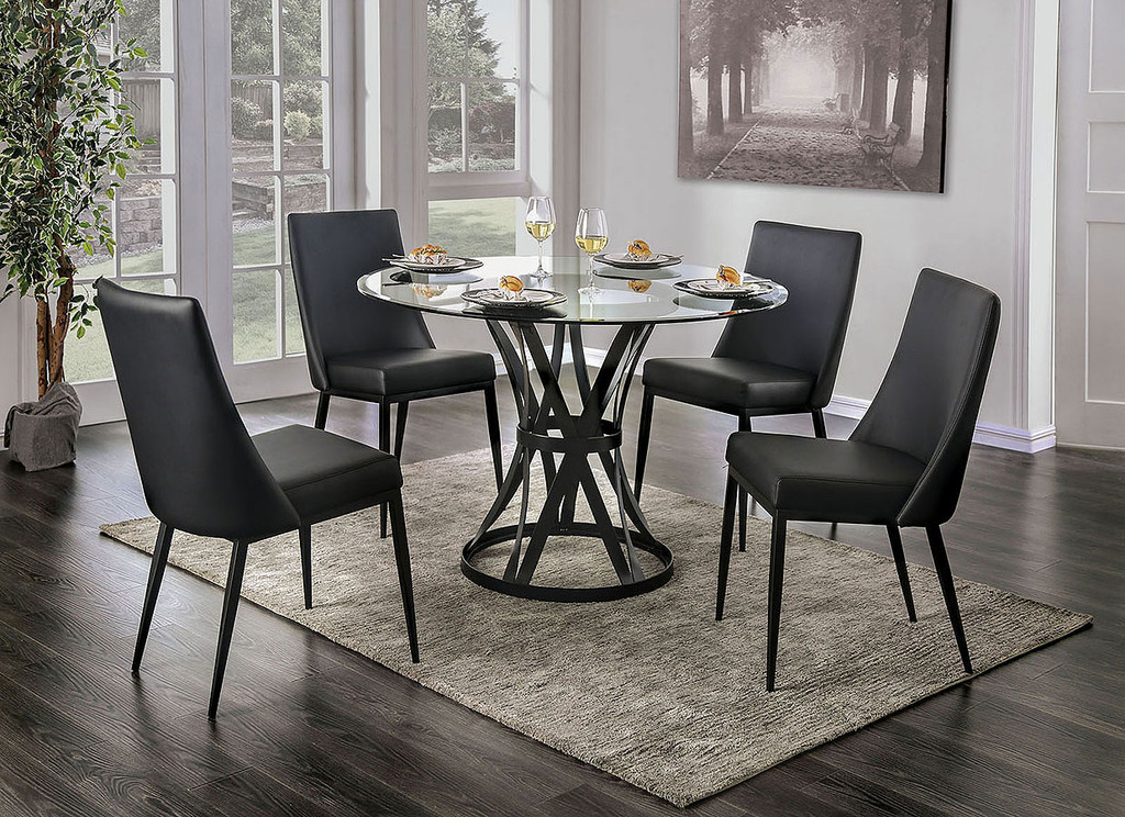 The Porrima Glass Top Dining Set Miami Direct Furniture