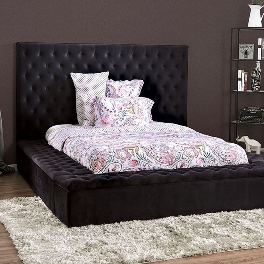 The Davida Black Upholstered Bed Miami Direct Furniture