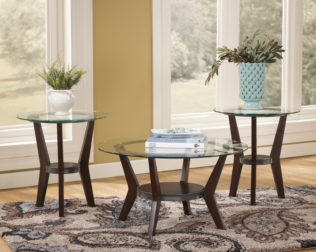 The Fantell Glass Top Coffee Table Set Miami Direct Furniture