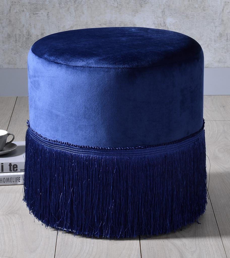 The Clivia Midnight Blue Velvet Ottoman Miami Direct Furniture