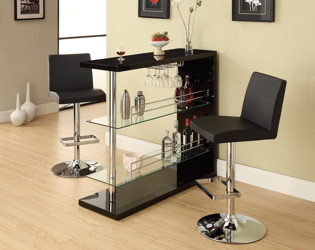 Contemporary bar with glass storage shelves click here to enlarge