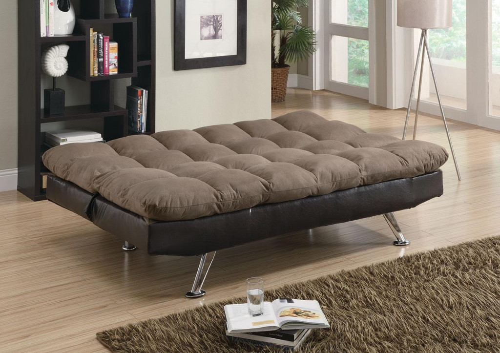 Plush Sofa Bed in Brown Microfiber   Miami Direct Furniture