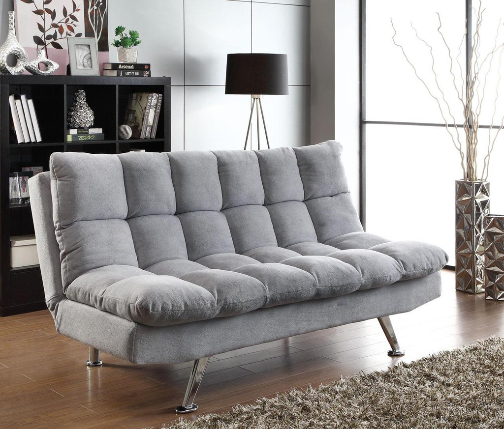 Picture of: Plush Sofa Bed In Grey Teddy Bear Fabric Miami Direct Furniture