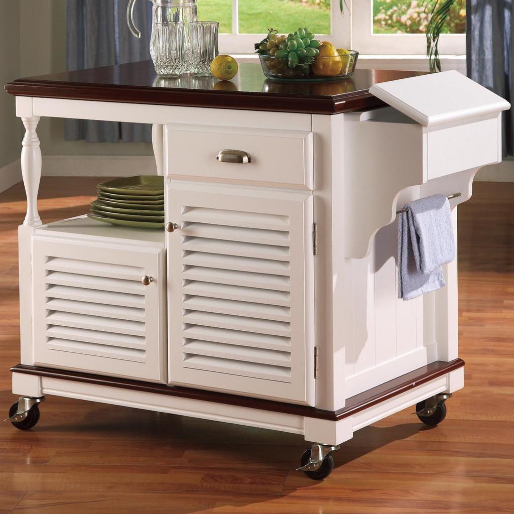 Sold Birch Wood Kitchen Cart