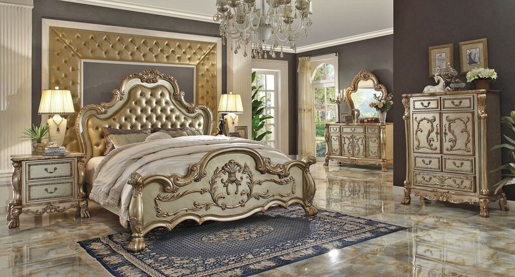 The Gold Patina Royal Bedroom Miami Direct Furniture