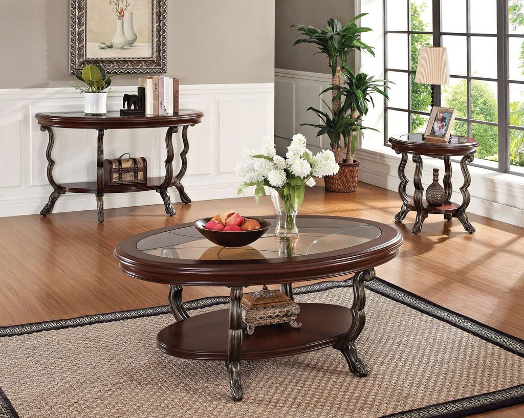 - The Bavol Cherry Brown 3pc Coffee Table Set - Miami Direct Furniture