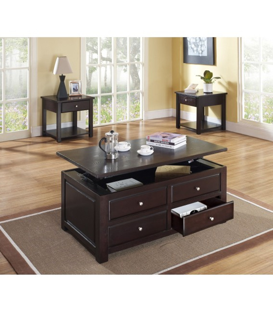 The Malden 3pc Lift Top Storage Coffee Table Set Miami Direct