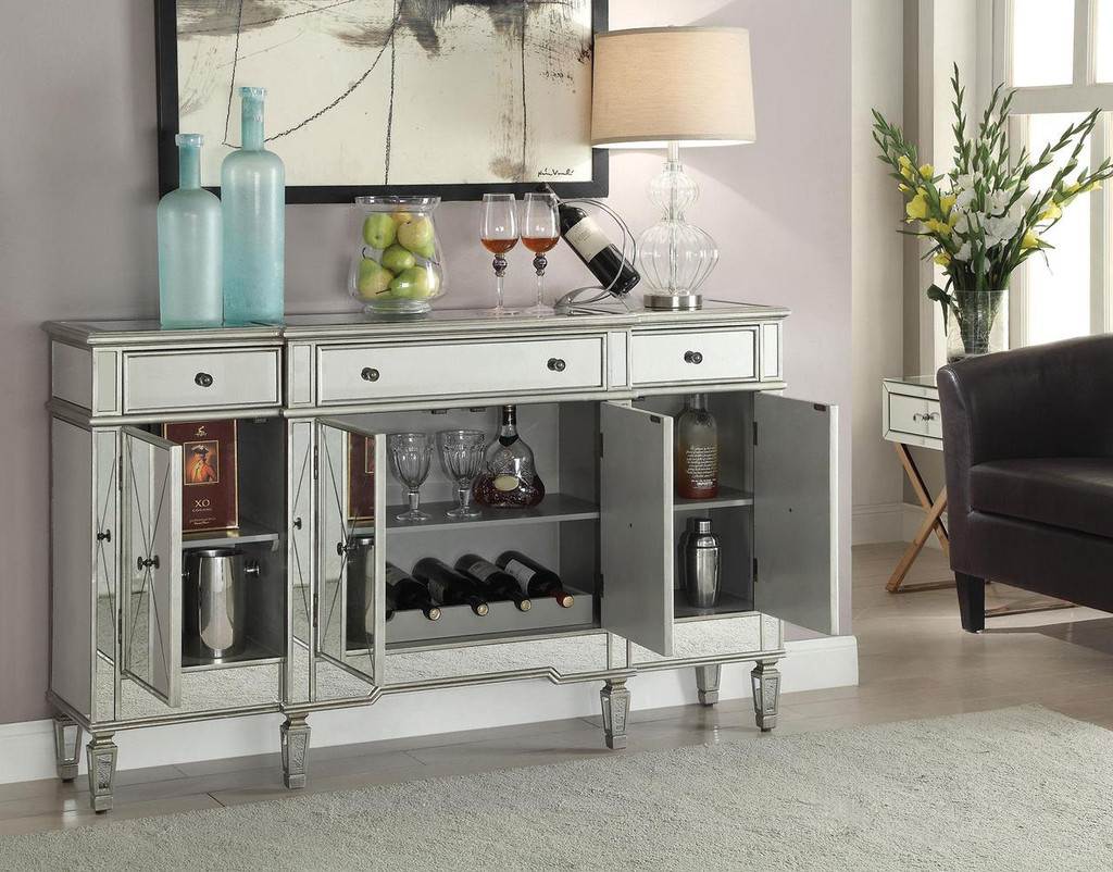 Mirror Panel Console Chest w/Wine Rack