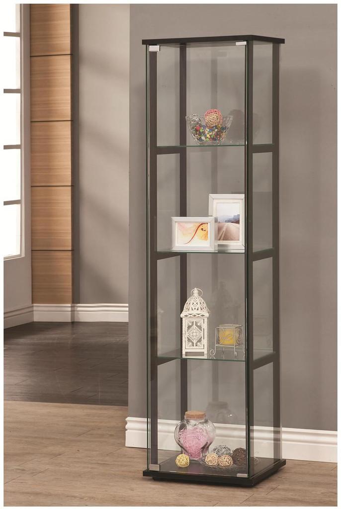 4 Shelf Contemporary Glass Curio Cabinet Miami Direct Furniture