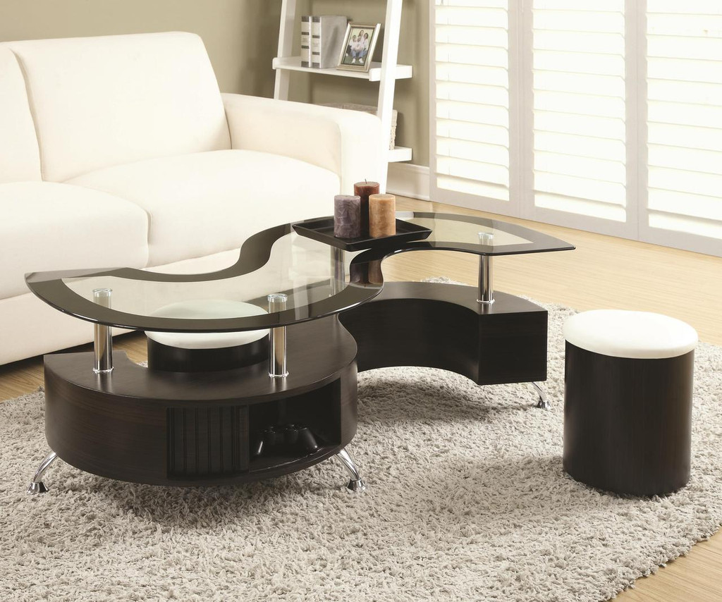 - Modern Cappuccino Coffee Table Set W/Stool - Miami Direct Furniture