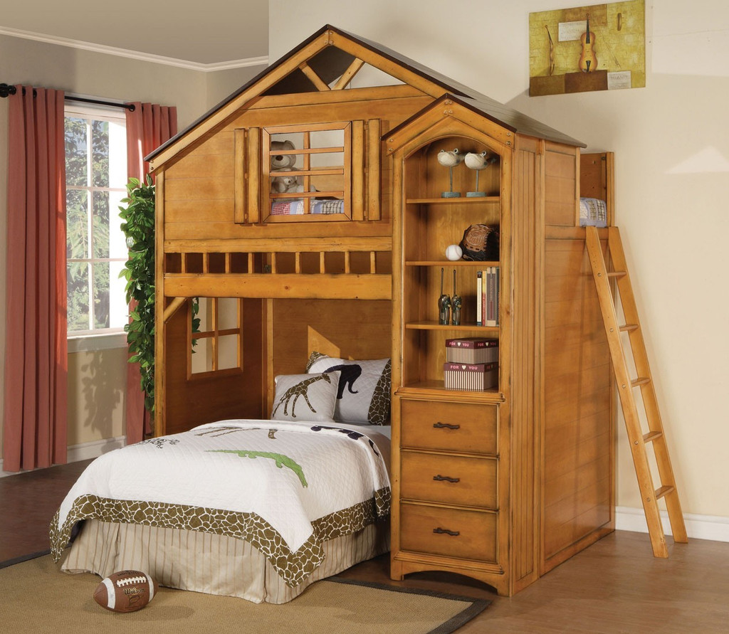The Treehouse Loft Bed with Bookcase