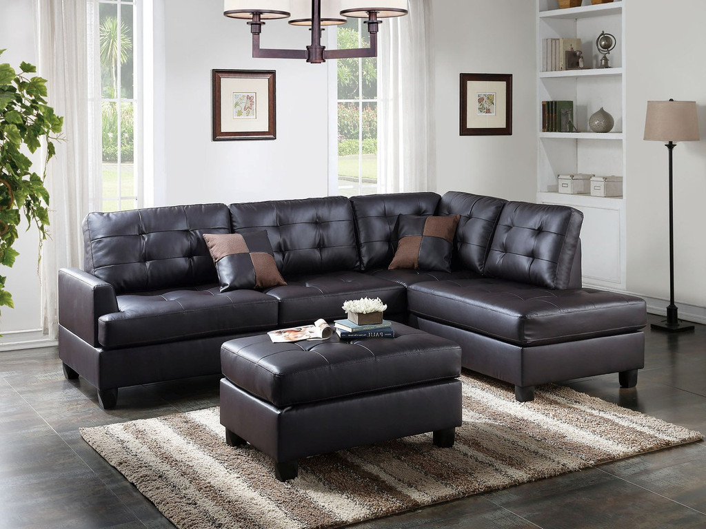 Outstanding The Cornnel Espresso 3Pc Sectional Squirreltailoven Fun Painted Chair Ideas Images Squirreltailovenorg