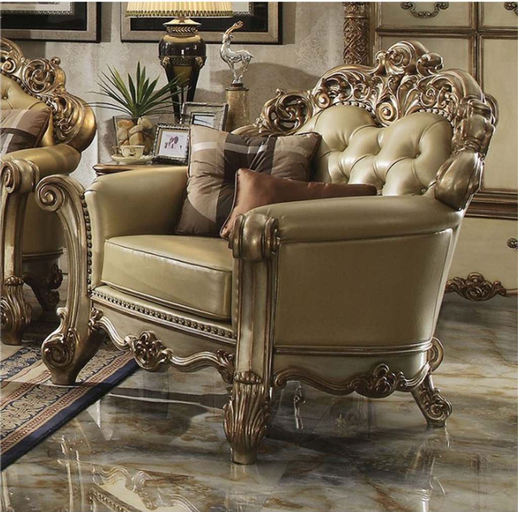 The Vendome Gold Patina Living Room Collection Accent Chair Miami Direct Furniture