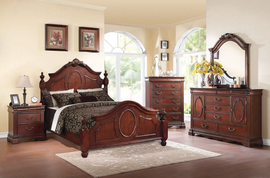 The 7pc Estrella Dark Cherry Bedroom Collection