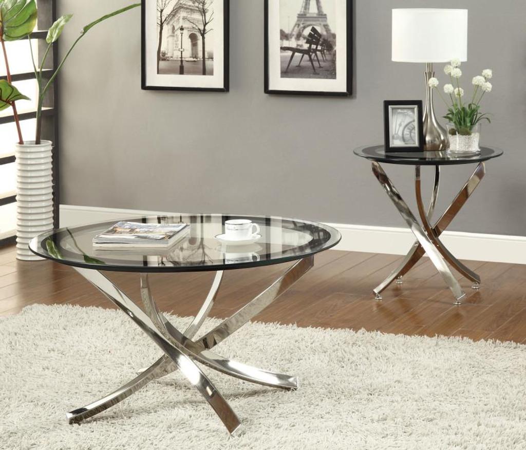 - 3pc Marlo Glass Top Table Set - Miami Direct Furniture