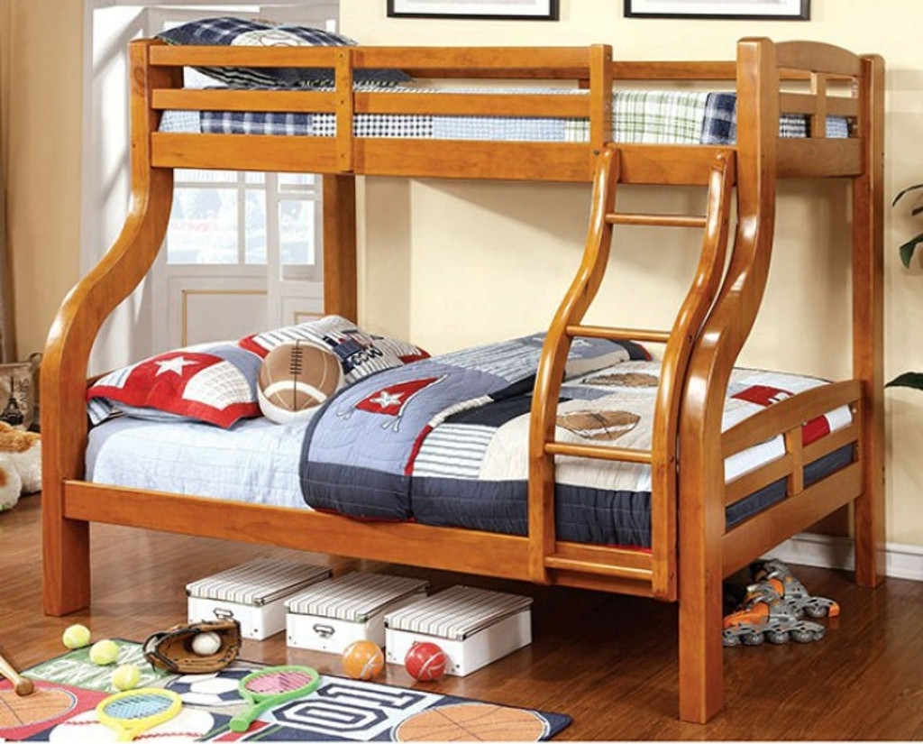 The Solpine Oak Twin Full Bunk Bed Miami Direct Furniture