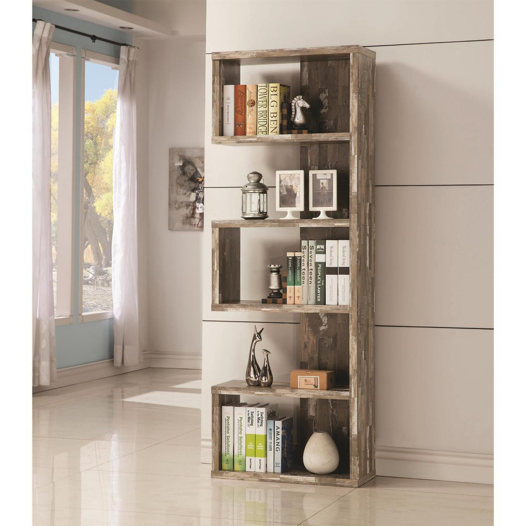Bookcase With Distressed Wood Finish