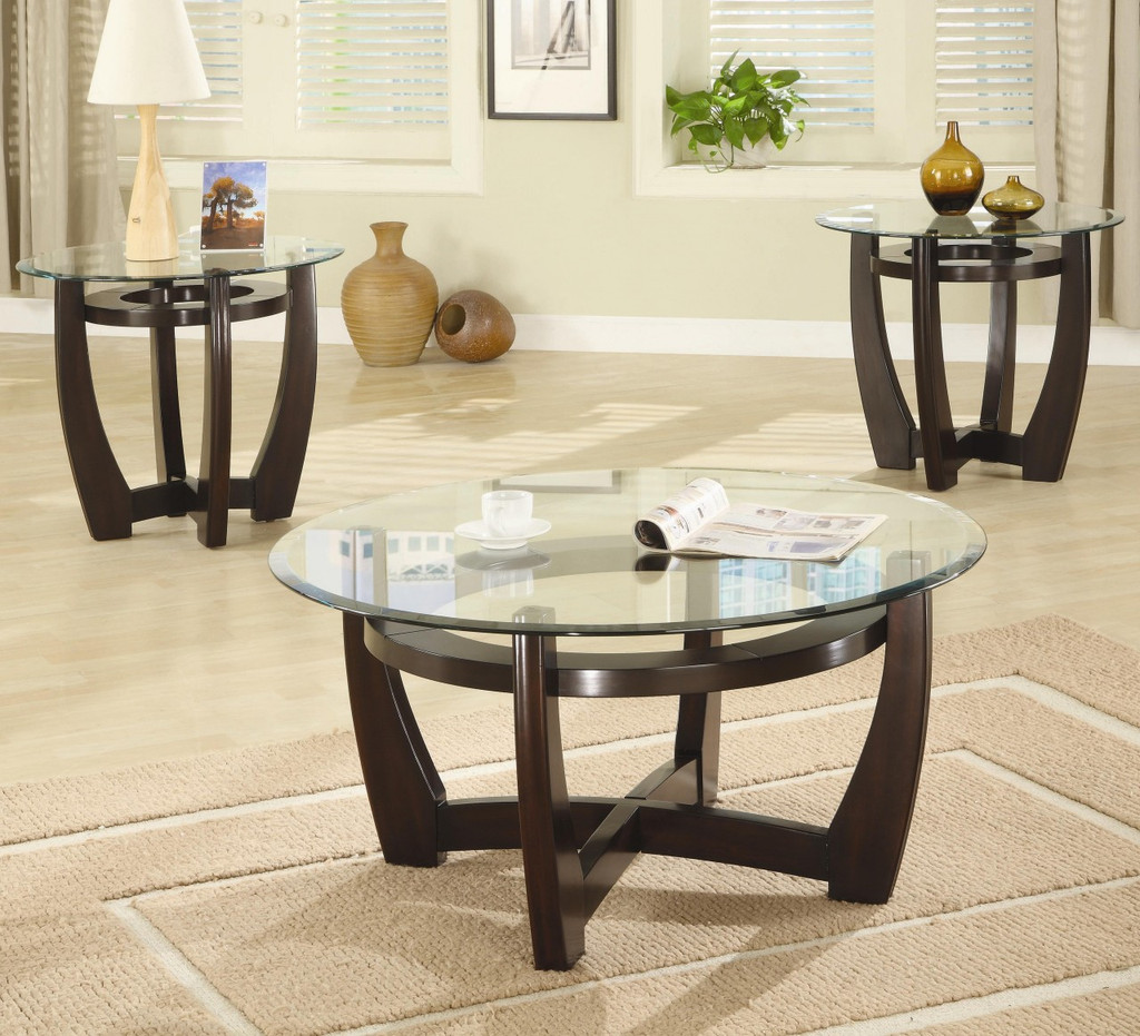 - 3pc Round Cappuccino Table Set With Glass Top - Miami Direct Furniture