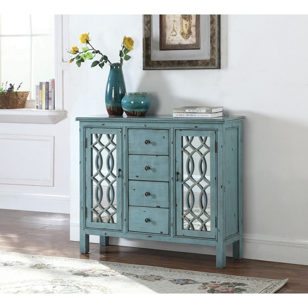 - The Antique Blue Accent Table - Miami Direct Furniture