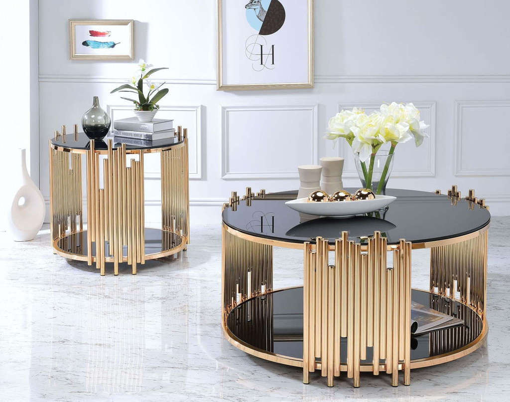 - Tanquin Gold And Black Glass Occasional Table Set - Miami Direct
