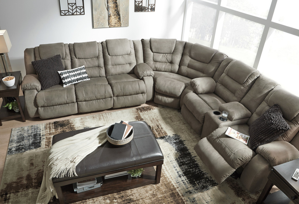 Incredible The Mccabe Cobblestone Reclining Sectional Unemploymentrelief Wooden Chair Designs For Living Room Unemploymentrelieforg