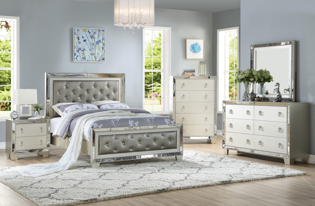 the uptown glamour silver bedroom collection  miami