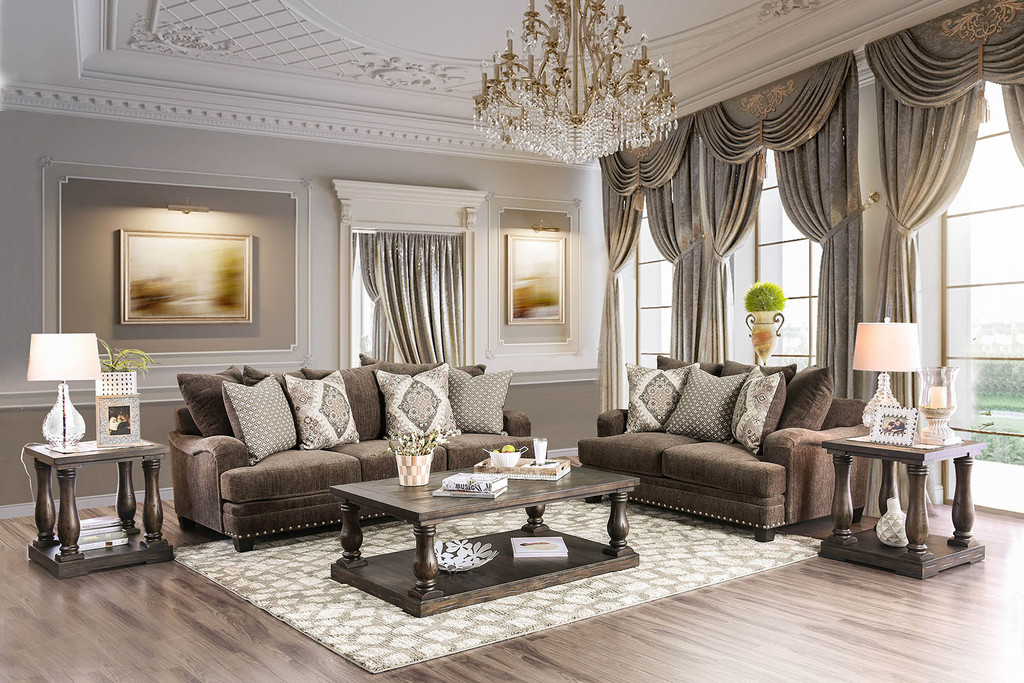 The Pauline Dark Brown Living Room Collection