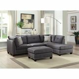 The Laurissa Charcoal Linen Sectional with Ottoman