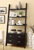 Cappuccino Bookcase with Storage Drawers