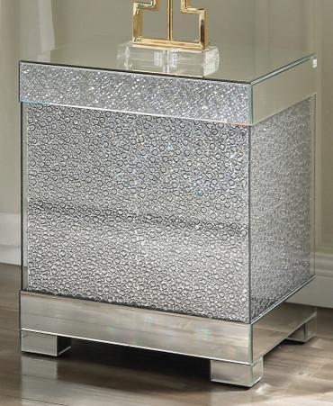 The Malika Mirrored End Table