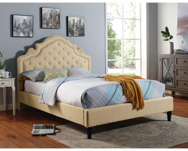 The Aubree Beige Fabric Bed