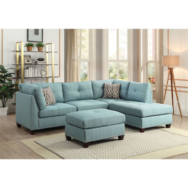 The Laurissa Light Teal Linen Sectional with Ottoman
