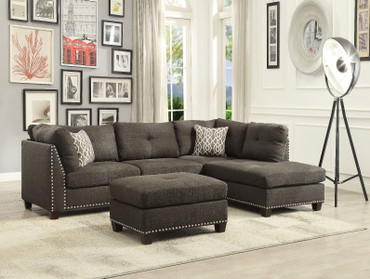 The Laurissa Light Charcoal Linen Sectional with Ottoman