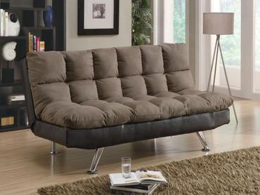 Plush Sofa Bed in Brown Microfiber