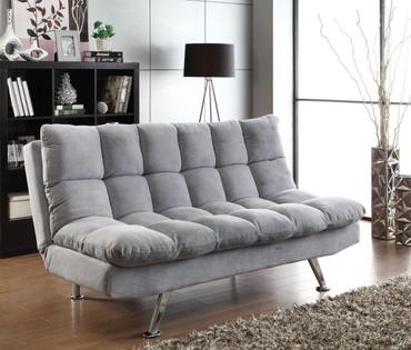 Plush Sofa Bed in Grey Teddy Bear Fabric