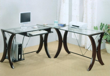 Glass top desk with cappuccino legs