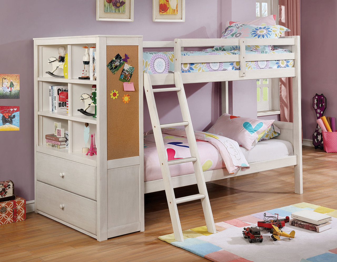 Picture of: The Athena White Twin Twin Bunk Bed W Bookcase Miami Direct Furniture