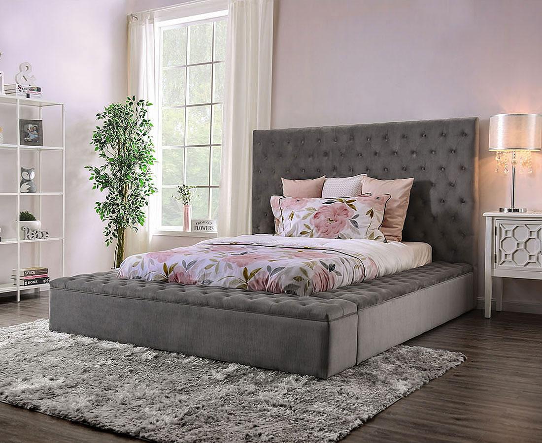 The Davida Gray Upholstered Bed Miami Direct Furniture