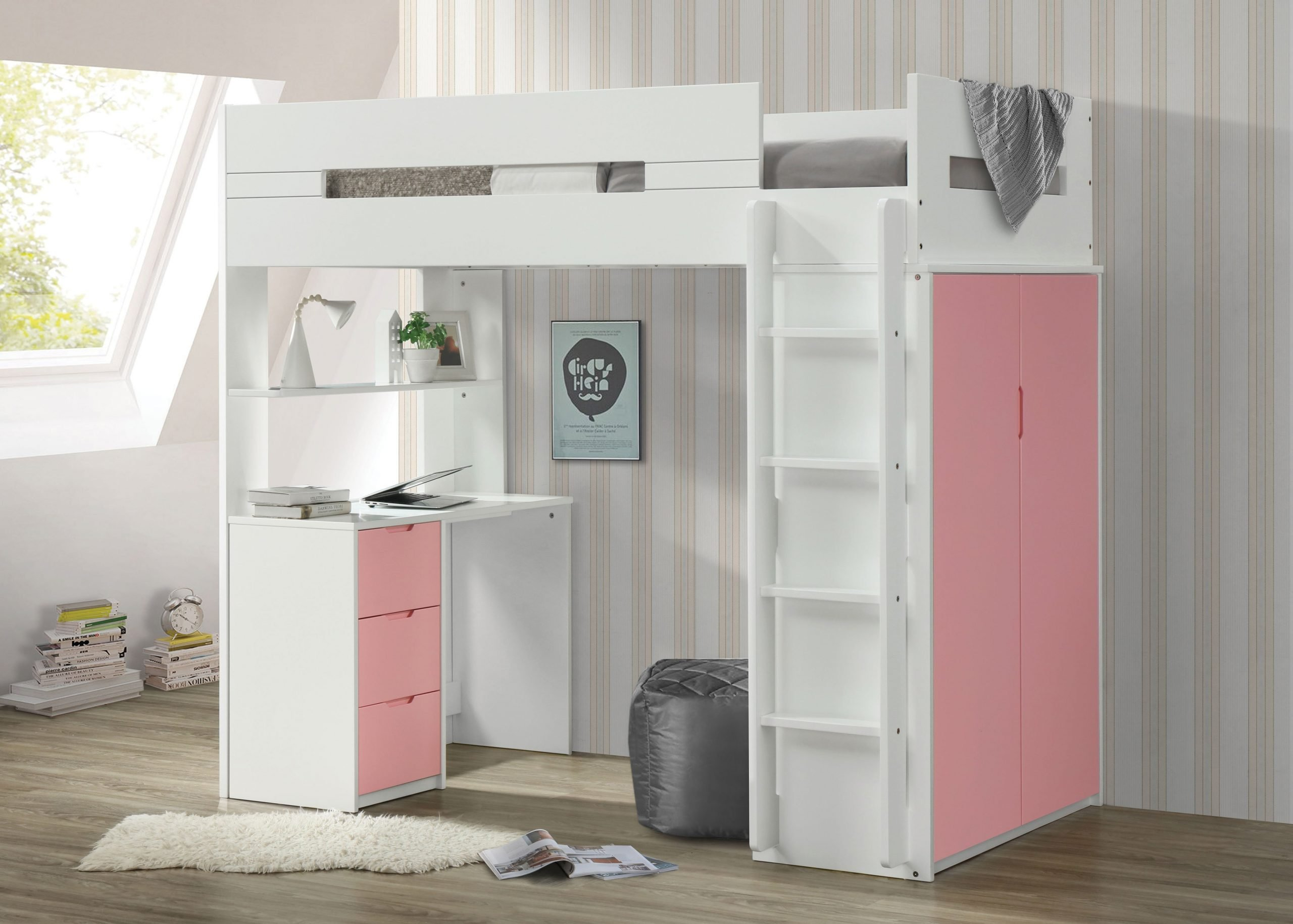 The Nerice Pink White Loft Bed Miami Direct Furniture