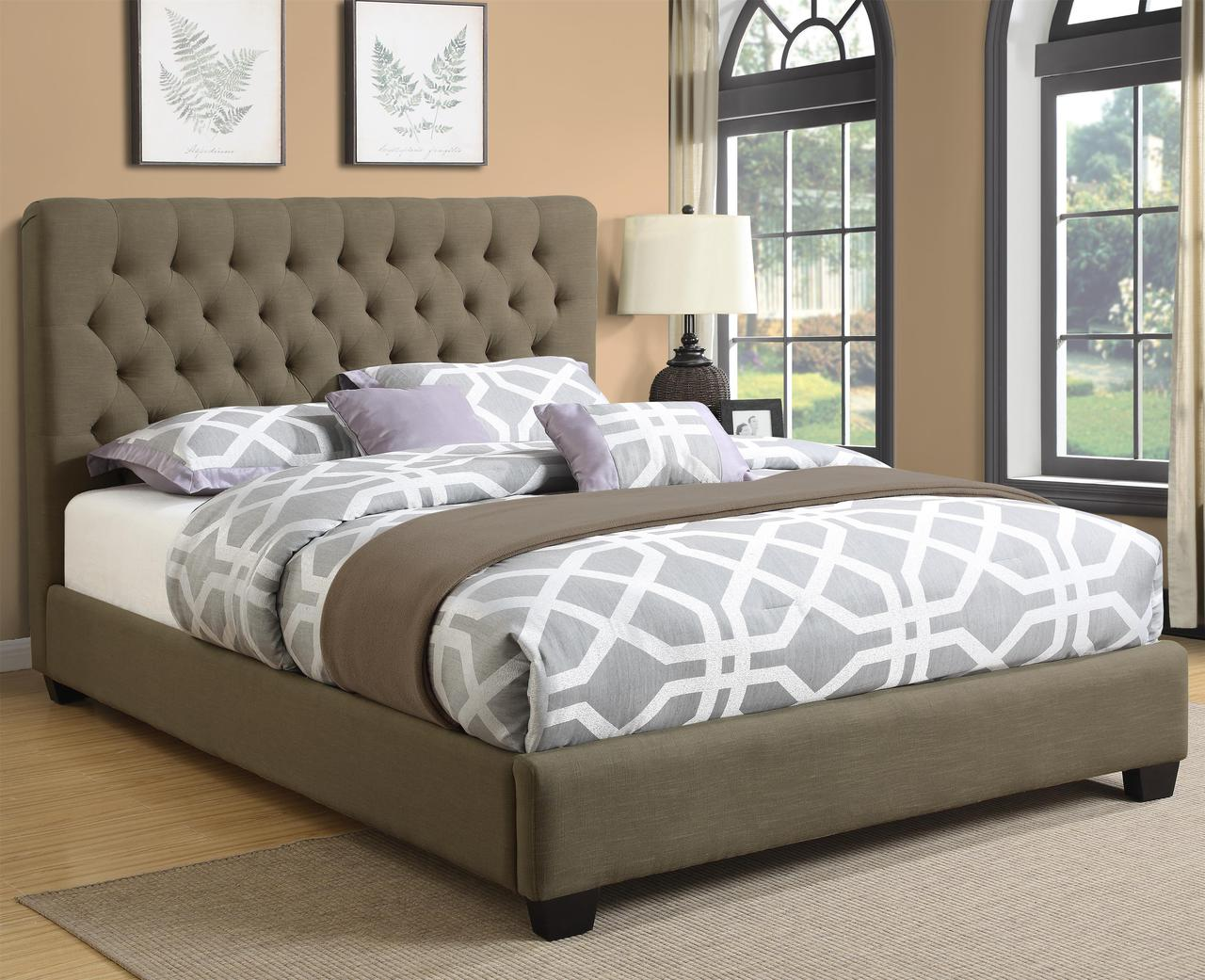 Picture of: Chloe Burlap Bed W Tufted Headboard Miami Direct Furniture