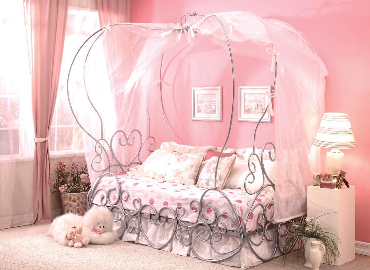 - Priya Silver Metal Twin Canopy Bed - Miami Direct Furniture