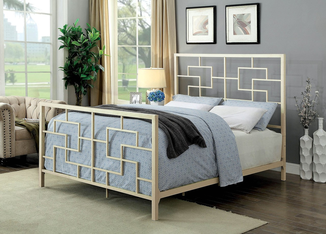 The Lala White Metal Bed Miami Direct Furniture