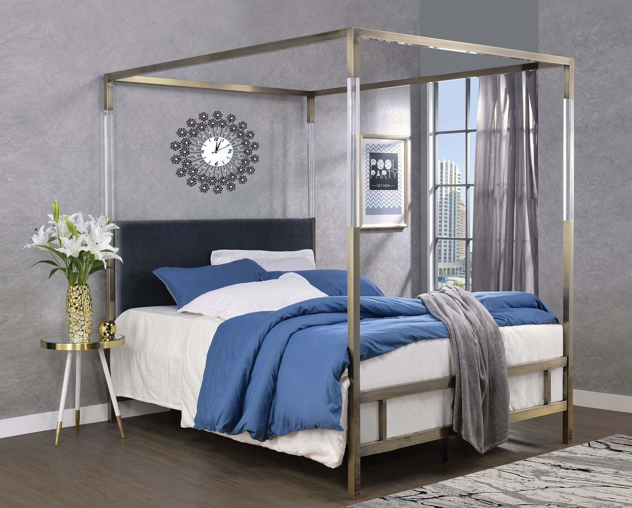 - The Raegan Gray Velvet & Antique Brass Bed - Miami Direct Furniture